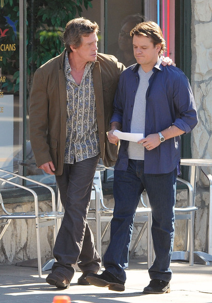 "Actors Matt Damon and Thomas Hayden Church hug it out on the set of ""We Bought A Zoo"" in Los Angeles."