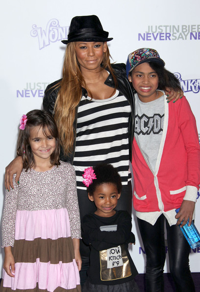 "Melanie Brown Celebrities attend the ""Justin Bieber: Never Say Never"" premiere at the Nokia Theater in Los Angeles."