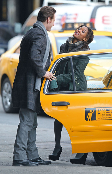 Michael Fassbender and Nicole Beharie film a scene for 'Shame' in the Meatpacking District of Manhattan in New York City, NY.