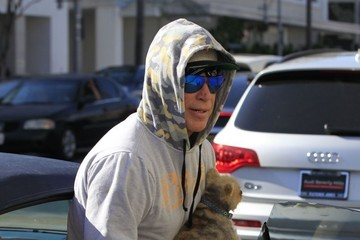 Mickey Rourke Mickey Rourke Takes His Dog for a Walk in Beverly Hills