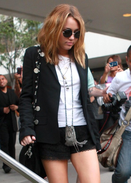 Miley Cyrus Actress Miley Cyrus seen leaving the Newsroom Cafe after having lunch in West Hollywood, CA.
