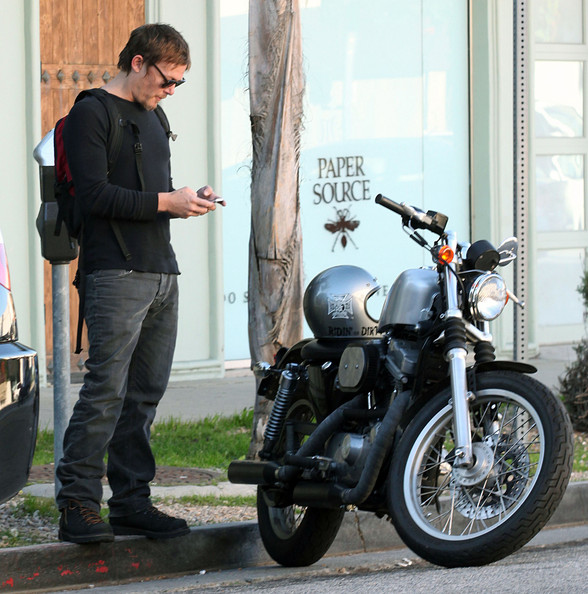 The Walking Dead And Boondock Saints Star Norman Reedus Was Spotted Reading A Text Message Before Getting On His Motorbike Driving Off In Studio