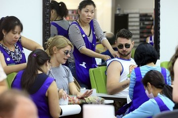 Paul Khoury Ashley Greene and Paul Khoury Get Manicures in Beverly Hills