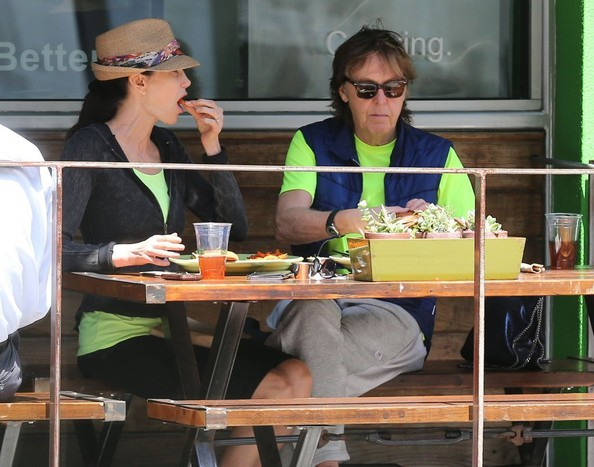 Paul McCartney Legendary rocker Paul McCartney and wife Nancy Shevell enjoy lunch together at Greenleaf in Beverly Hills, California on April 16, 2014.