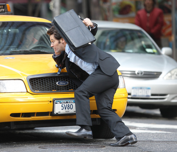 "In a scene for his new movie, actor Paul Rudd gets hit by a taxi on the set of ""Wanderlust"" in midtown Manhattan. **Mandatory Credit: Brian Flannery/Flynetpictures.com**"
