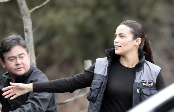 Actress Paula Patton on the set of 'Mission Impossible 4: Ghost Protocol' in Vancouver, Canada.