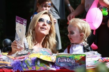 Penny Lancaster Kimberly Stewart & Penny Lancaster Take Their Kids To A Halloween Party