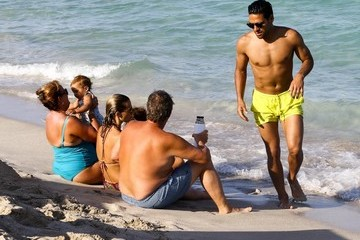 Radamel Falcao Lorelei Taron Radamel Falcao Enjoys a Day on the Beach in Miami With Family