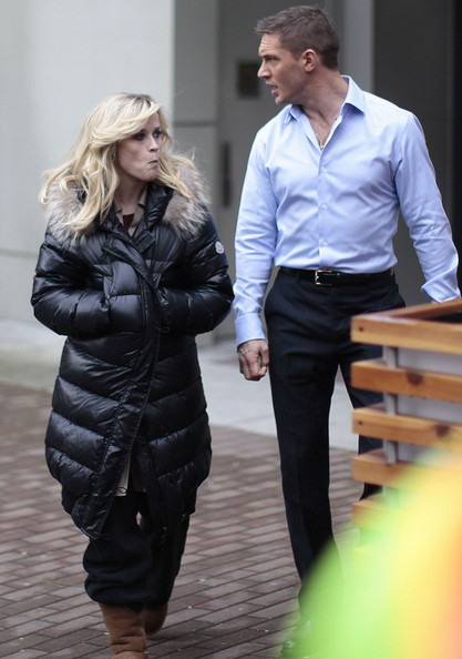 Actress Reese Witherspoon and Tom Hardy on the set of 'This Means War' in Vancouver, Canada. Reese was seen making faces in between takes. Also on set was director McG.