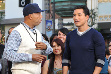 Mario Lopez Russell Simmons At The Grove To Do An Interview On EXTRA