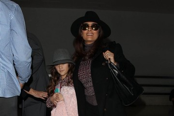 Salma Hayek Salma Hayek Catches a Flight With Her Daughter at LAX Airport