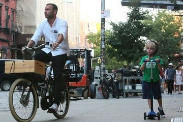 Samuel Schreiber Liev Schreiber Out For A Bike Ride With His Boys In NYC
