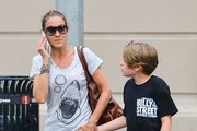 'Sex And The City' actress Sarah Jessica Parker and her son James Broderick spotted out and about in New York City, New York on July 17, 2014. Sarah held tightly onto James hand as they crossed the street.