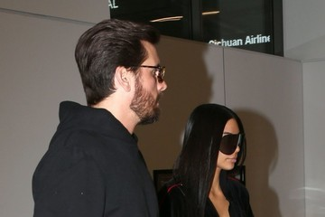 Scott Disick Kim Kardashian and Scott Disick Depart on a Flight at LAX
