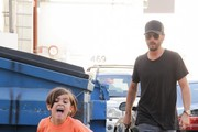 Scott Disick and Son Mason Shop at Saint Laurent in Beverly Hills