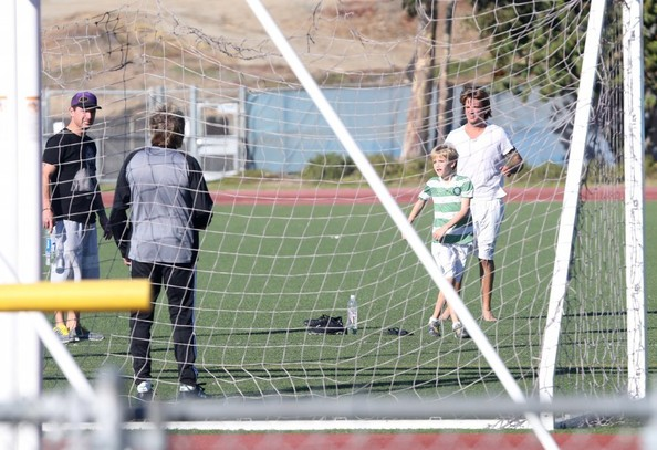 Rod Stewart Plays Soccer With His Sons