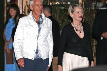 Sharon Stone Celebrities Dine Out at SoHo House