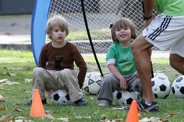 Quinn Kelly Stone Sharon Stone's Sons Playing Soccer In Coldwater Park
