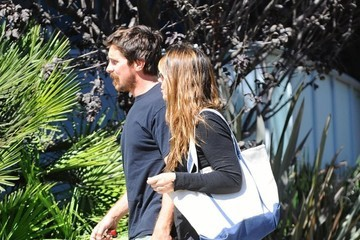 Sibi Blazic Christian Bale & Sibi Blazic Out For Lunch In Brentwood