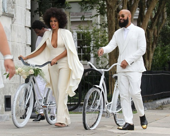Singer Solange Knowles weds Alan Ferguson in front of friends and family in New Orleans, Louisiana on November 16, 2014. The pair enjoyed a bike ride instead of a limo ride after the wedding.<br /> <br /> Pictured: Solange Knowles, Alan Ferguson