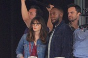 Stars spotted filming scenes on the set of 'New Girl' in Los Angeles, California on September 12, 2016.<br /> <br /> Pictured: Zooey Deschanel, Lamorne Morris, Jake Johnson