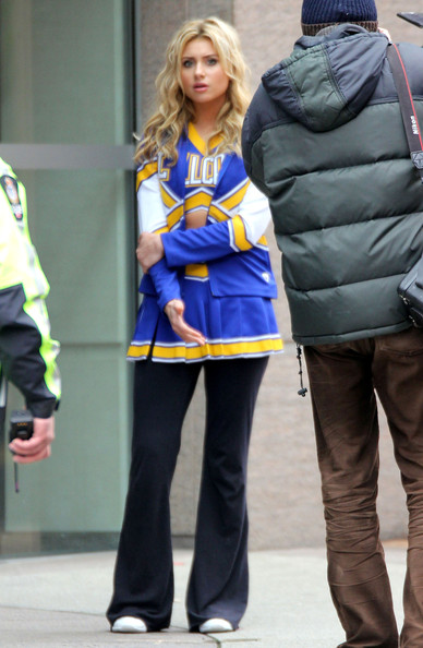 Actresses Ashley Tisdale, Alyson Michalka and AJ Michalka on the set of 'Hellcats' in Vancouver, Canada.