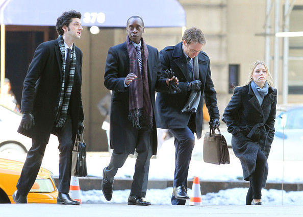 Don Cheadle, Kristen Bell, Josh Lawson, Dawn Olivieri and Ben Schwartz on the set of the TV movie 'House Of Lies' in New York City, NY.