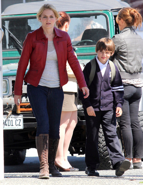 "Jennifer Morrison, Jared Gilmore and Jamie Dornan are seen on the set of ""Once Upon a Time"" in Vancouver. The town has been transformed into Storybrooke. Jared was lifted behind the camera to take a peek through the lens. He says he hopes to one day direct."