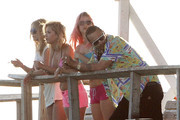 Actors Vanessa Hudgens, Ashley Benson, Heather Morris and James Franco filming a scene on a pier on the set of 'Spring Breakers' in Tampa, FL on March 28, 2012.