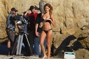 LA model Stephanie Cook shows off her bikini body while doing a commercial shoot for 138 Water on the beach in Palos Verdes, California on August 13, 2013.