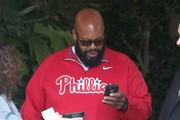 Music mogul Suge Knight waiting for his car at the valet station at the Four Seasons Hotel in Beverly Hills, California on April 17, 2014.
