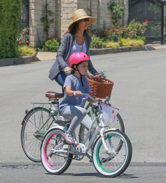 Adam Sandler and His Family Go for a Bike Ride in Brentwood