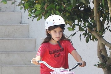 Sunny Sandler Adam Sandler and His Daughter Sunny Ride Bikes in Malibu