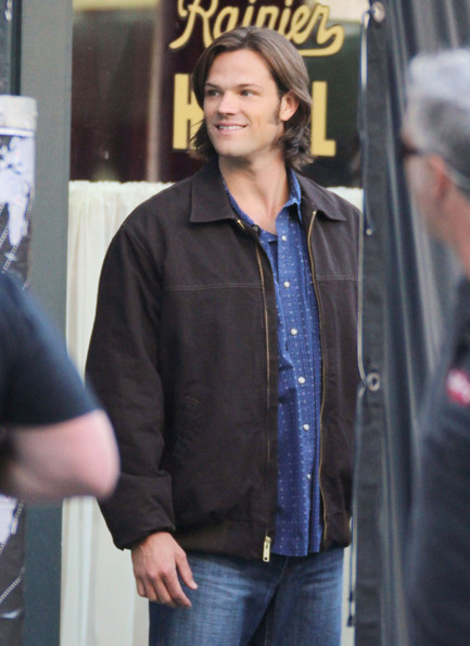 Supernatural stars are pictured filming on set in Vancouver.