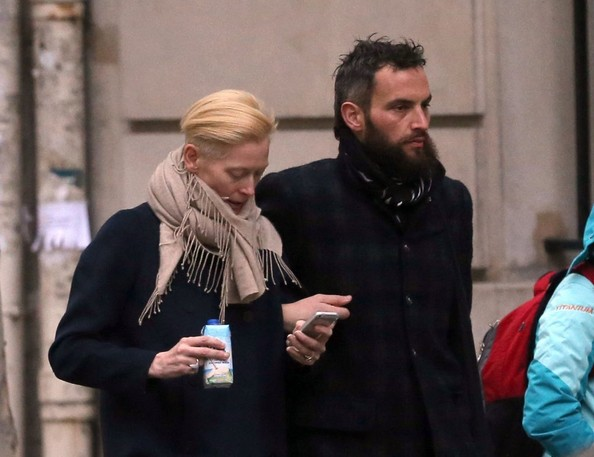 Tilda Swinton and her boyfriend Sandro Kopp take a romantic stroll in Paris, France on November 17, 2013.