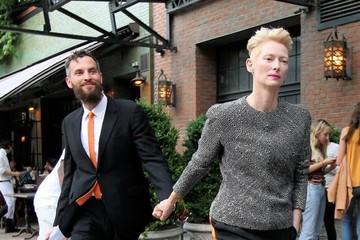 Tilda Swinton Sandro Kopp Tilda Swinton & Sandro Kopp Leaving The Bowery Hotel