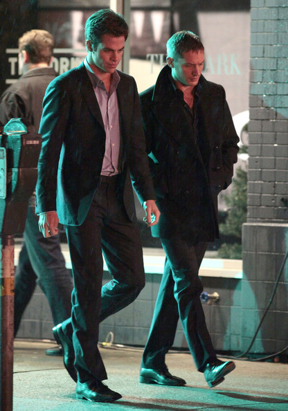 """Actors Tom Hardy and Chris Pine doing a night shoot on the set of """"This Means War"""" at the Penthouse Nightclub in Vancouver, Canada."""