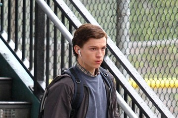 Tom Holland Tom Holland On The Set Of 'Spiderman: Homecoming'