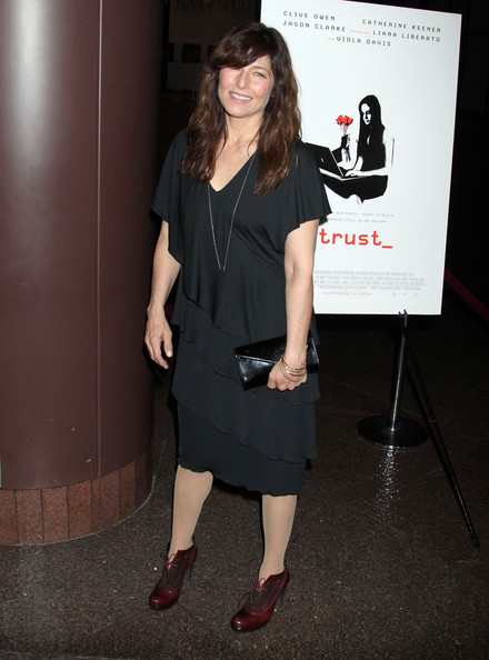 Catherine Keener carried a classic black leather envelope clutch to the Los Angeles screening of 'Trust.'