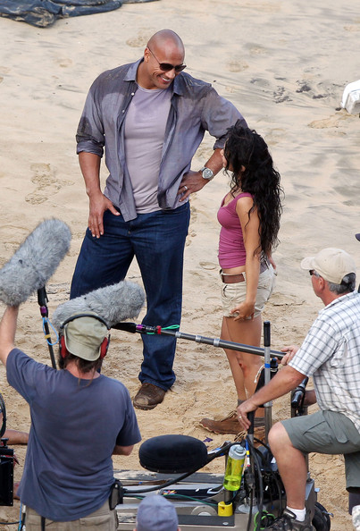 "Vanessa Hudgens Vanessa Hudgens, Dwayne ""The Rock"" Johnson, Josh Hutcherson and Luis Guzman film ""Journey 2: The Mysterious Island"" on Oahu, Hawaii."