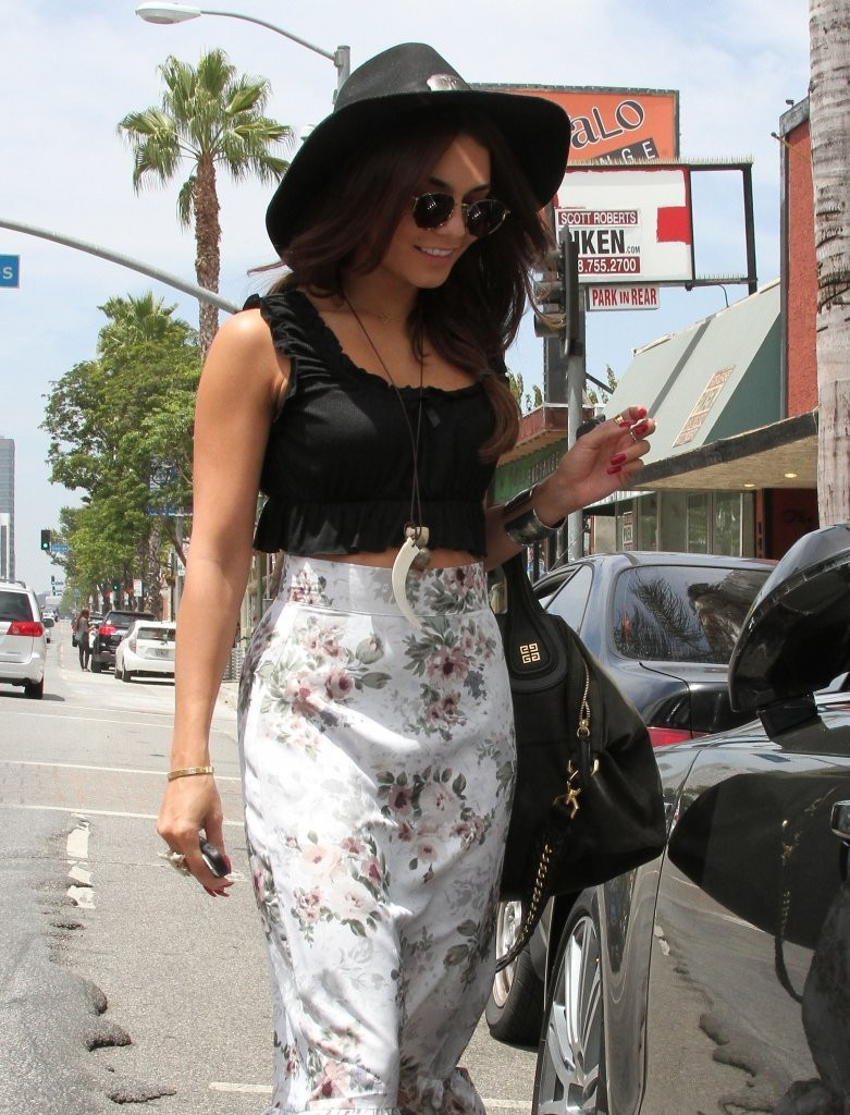 Found: Vanessa Hudgens' Errand-Ready Floral Maxi Skirt & Crop-Top