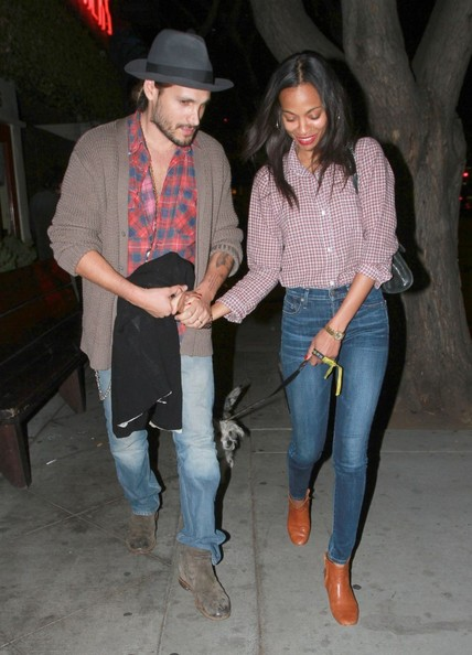 'Star Trek' star Zoe Saldana and her husband Marco Perego dine out together at Dominick's restaurant on November 6, 2013 in West Hollywood, California.