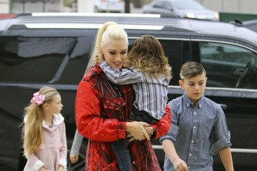 Zuma Rossdale Gwen Stefani and Her Kids Leave Church in LA