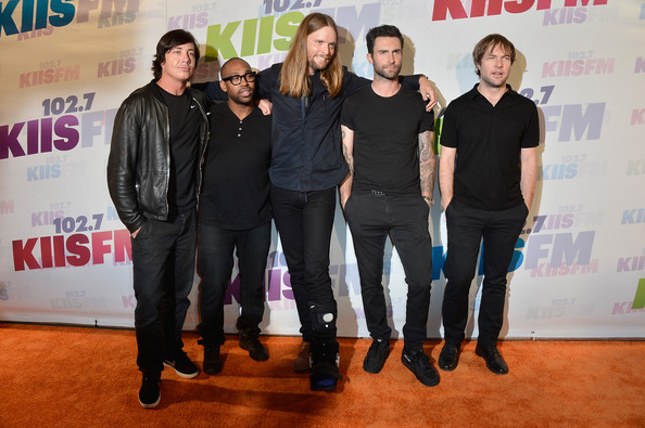 (L-R) Matt Flynn,  PJ Morton, James Valentine, Adam Levine and Mickey Madden of Maroon 5 attend 102.7 KIIS FM's Wango Tango 2013 held  at The Home Depot Center on May 11, 2013 in Carson, California.