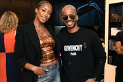 Model Keenyah Hill and Actor Eric West attend 111SKIN Celebrates Bergdorf Goodman Launch With Cocktails Featuring The Beauty Gypsy at Bergdorf Goodman on June 19, 2019 in New York City.