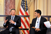 From left, David Novak, Chairman and CEO of Yum! Brands and USAID administrator Raj Shah attend the 11th annual George McGovern Leadership award ceremony at The State Department on October 3, 2012 in Washington, DC.