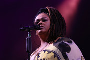 Singer Jill Scott performs on stage at The 12th Annual Jazz In The Gardens Music Festival - Day 1 at Hard Rock Stadium on March 18, 2017 in Miami Gardens, Florida.