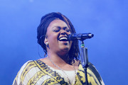 Musician Jill Scott performs on stage at The 12th Annual Jazz In The Gardens Music Festival - Day 1 at Hard Rock Stadium on March 18, 2017 in Miami Gardens, Florida.