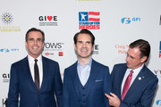 (L-R) Bob Woodruff, Jimmy Carr, and Dave Woodruff attend the 12th Annual Stand Up For Heroes at The Hulu Theater at Madison Square Garden on November 5, 2018 in New York City.