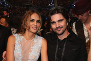 Singer Juanes (R) and model Karen Martinez pose in the audience at the 13th annual Latin GRAMMY Awards held at the Mandalay Bay Events Center on November 15, 2012 in Las Vegas, Nevada.